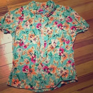 FINAL SALE Floral mint blouse w/ Peter Pan collar